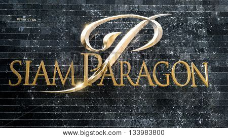 BANGKOK, THAILAND - JUNE 8, 2016 : Closeup of Siam Paragon sign. One of the most famous shopping mall in south east Asia in Bangkok, Thailand