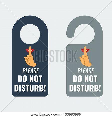 Do not disturb. Door hanger. Keep quiet and shhh sign. Illustrated Vector. poster