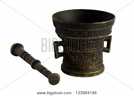 Antique bronze mortar and pestle isolated on white background