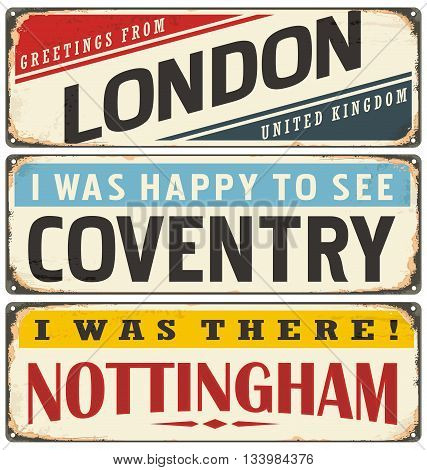 Retro tin sign collection with UK city names. Vintage vector souvenir sign or postcard templates. Travel theme.