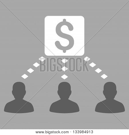 Money Recipients vector toolbar icon. Style is bicolor flat icon symbol, dark gray and white colors, silver background, rhombus dots.