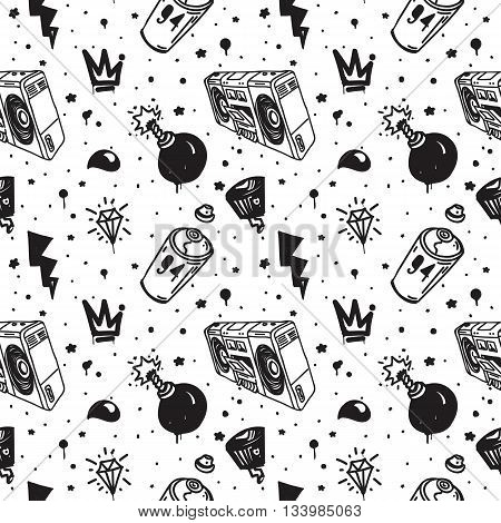 Graffiti black graphic spray can cartoon doodle, sketch grunge vector illustration with aerosol, cans, boombox. Colorful seamless vector pattern in black, white