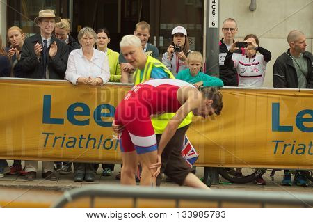 LEEDS, UK - JUNE 12: Triathlete Richard Varga retires from the World Triathlon Series stage 5 with an injury June 12, 2016 in Leeds, UK