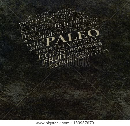 PALEO diet cave wall - Dark stone cave wall effect background with etched effect PALEO word cloud and copy space below