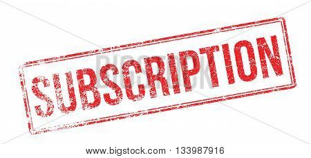 Subscription Red Rubber Stamp On White
