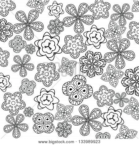 Relaxing coloring page with flowers for kids and adult art therapy meditation coloring book vector illustration printable sheet abstract lace background