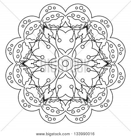 Realxing coloring page with vector mandala for kids and adult art therapy meditation coloring book vector illustration printable sheet abstract background