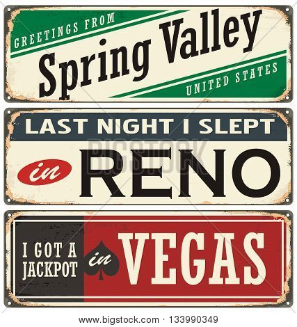 Retro tin sign collection with USA city names. Vintage vector souvenirs or postcard templates. Travel theme. Places to visit and remember.