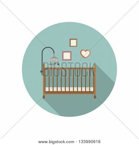 Baby crib icon. Vector flat illustration of crib