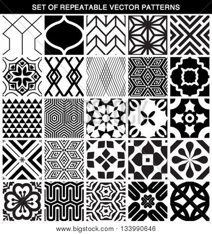 SET OF DIFFERENT VECTOR SEAMLESS PATTERNS. Endless texture can be used for wallpaper, pattern fills, web page background, surface textures. geometric ornaments black and white.