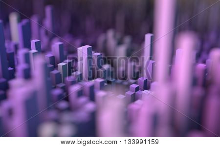 3D illustration of abstract macro render with shallow dept of field. Macro city