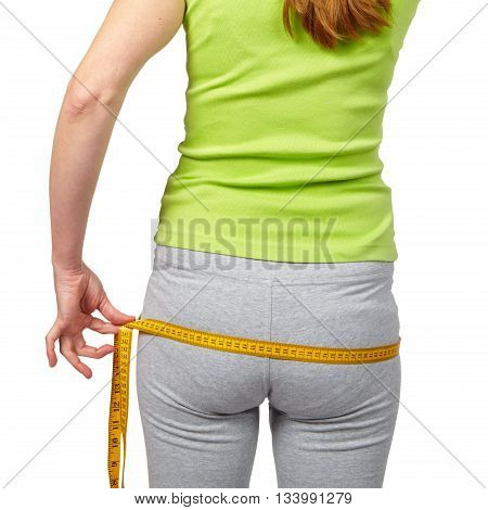 Slender Woman Measuring Her Waist