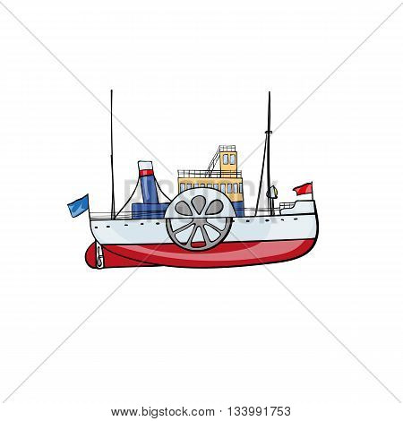 Hand drawn water transport kids toy steamship Vector illustration