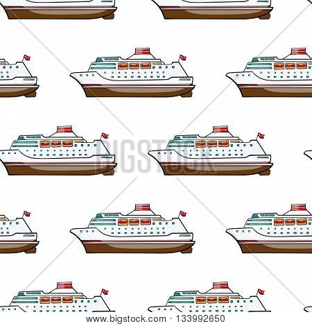vector seamless pattern. Hand drawn water transport. kids toy cruise ship