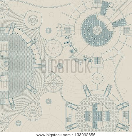 Architectural and engeneering background. Vector building plan.