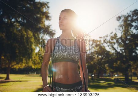 Sportswoman With A Skipping Rope At The Park
