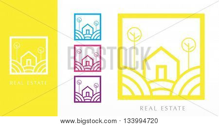 BEAUTIFUL MINIMAL REAL ESTATE VECTOR LOGO / ICON , IN VARIOUS BRIGHT COLORS