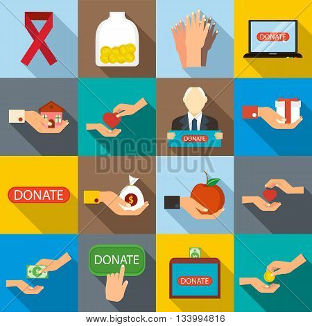 Charity icons set in flat style for any design