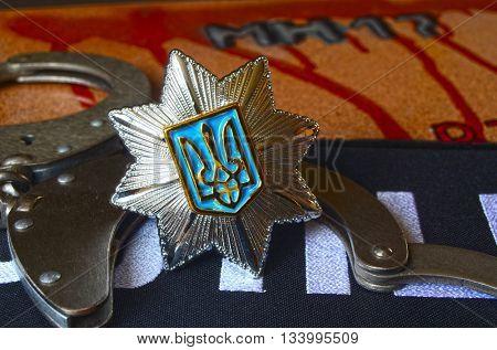 ILLUSTRATIVE EDITORIAL.Cockade of Ukrainian new pro-american occupational police.June 7,2016 in Kiev, Ukraine
