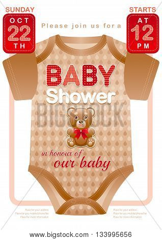 Baby shower unisex invitation design for boy or girl with body suit in beige and red color on white background. Cute teddy bear toy icon