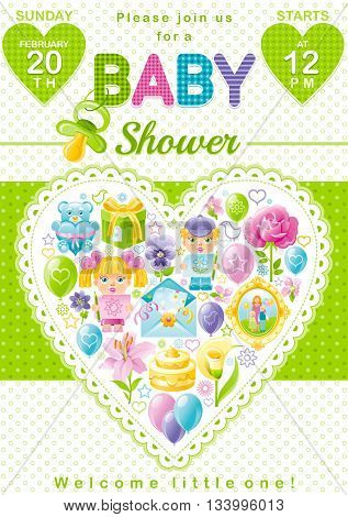 Baby shower invitation design in unisex green color for boy or girl with child icon set. Gift box, teddy bear toy, lily flower, rose, baloons, cake, envelope, photo frame