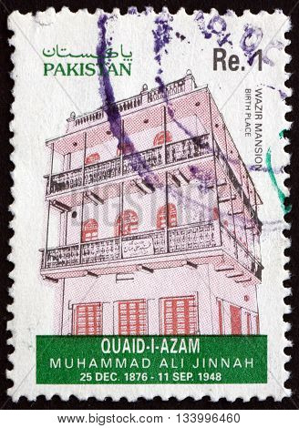 PAKISTAN - CIRCA 1993: a stamp printed in Pakistan shows Wazir Mansion Birthplace of Mohammad Ali Jinnah Lawyer Politician and the Founder of Pakistan circa 1993