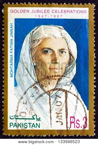 PAKISTAN - CIRCA 1997: a stamp printed in Pakistan shows Mohtarma Fatima Jinnah Dental Surgeon Biographer Stateswoman and One of the Leading Founders of Pakistan Independence 50th Anniversary circa 1997