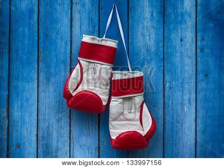 pair of red boxing gloves hanging on the old blue wooden wall