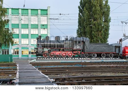 Kursk, Russia - 1 October 2015, the steam locomotive EM 728-73. Freight locomotive series M was built in 1933