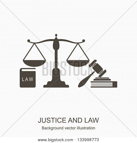 Law and justice icons. Scales of justice, gavel and books n flat style. Concept justice and law icon isolated on gray background. Vector illustration