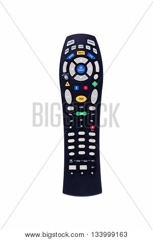 Black tv remote control front view isolated on white background