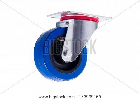 Industrial simple single steel caster without lock isolated on white background