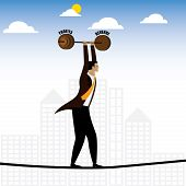 businessman or executive walking on tightrope balancing revenue & profits - vector graphic. this also represents persistence & hardwork job difficulties career struggles risk and reward grit poster