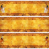 Collection of grunge banner with Egyptian gods images on old stucco textures. Isis, Anubis and Horus poster