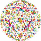 Mexican embroidery round pattern. Colorful and ornate ethnic pattern. Birds and flowers light background. Floral background with bright ethnic ornament. poster