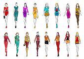 Colorful sketch silhouettes of young women wearing fashionable clothes. Fashion models presenting elegant office dresses and casual attires for everyday style. Shopping theme or fashion industry design poster
