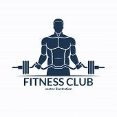 Fitness logo. An athlete with a barbell. Gym, bodybuilding, weightlifting, sports, training monochrome emblem, label, badge, sign, symbol. Vector illustration poster