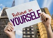 Believe in Yourself placard with urban background poster