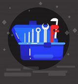 detailed proffesional plumbing tool. Concept banner plumbing servise poster