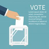 Voting election concept. Vector illustration flat design style. Man holds in his hand bulletin puts in ballot box. Vote icon. Casting vote. Politics poll choice. Voter makes choice poster