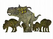Pachyrhinosaurus Dinosaur with Young 3D Illustration - Pachyrhinosaurus was a ceratopsian herbivorous dinosaur that lived in the Cretaceous Period of Alberta Canada. poster