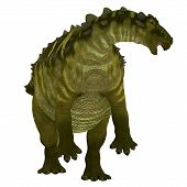 Talarurus Dinosaur over White 3D Illustration - Talarurus was a herbivorous armored dinosaur that lived in the Cretaceous Period of Mongolia. poster