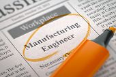 Newspaper with Advertisements and Classifieds Ads for Vacancy Manufacturing Engineer. Blurred Image with Selective focus. Job Seeking Concept. 3D Illustration. poster