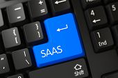A Keyboard with Blue Button - Saas. Concepts of Saas, with a Saas on Blue Enter Keypad on Modernized Keyboard. Modern Laptop Keyboard Key Labeled Saas. Blue Saas Button on Keyboard. 3D Illustration. poster