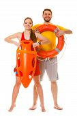 Lifeguards with rescue tube and ring buoy lifebuoy. Man and woman supervising swimming pool. Accident prevention. poster