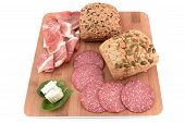 two cereal bread, speck, salami and gorgonzola poster