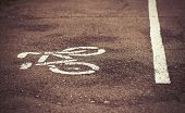 Separate bicycle lane on asphalt in the park. White bike symbol and straight line drawn on the ground to show the direction of cyclists. No models poster