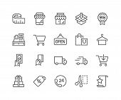 Simple Set of Shopping Related Vector Line Icons. Contains such Icons as Mobile Shop, Payment Options, Sizing Guide, Starred, Delivery and more. Editable Stroke. 48x48 Pixel Perfect. poster