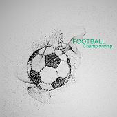 Football or Soccer abstract ball. Vector sport illustration of flying abstract Soccer Ball made of ink stylized particles. Abstract 3D fluid ink Soccer ball sign poster