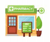 Vector pharmacy drugstore pharmacy shop design, store pharmacy shop and pharmacy shop front display design. Pharmacy shop medical drugstore healthcare pharmacist retail business design. poster
